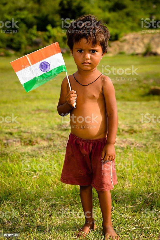 poor Indian kid stock photo