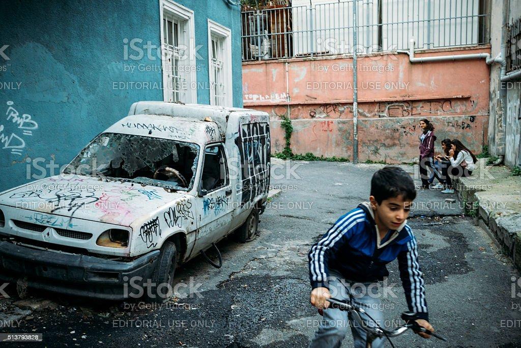 Poor neighbourhood in Istanbul, Beyoglu district stock photo