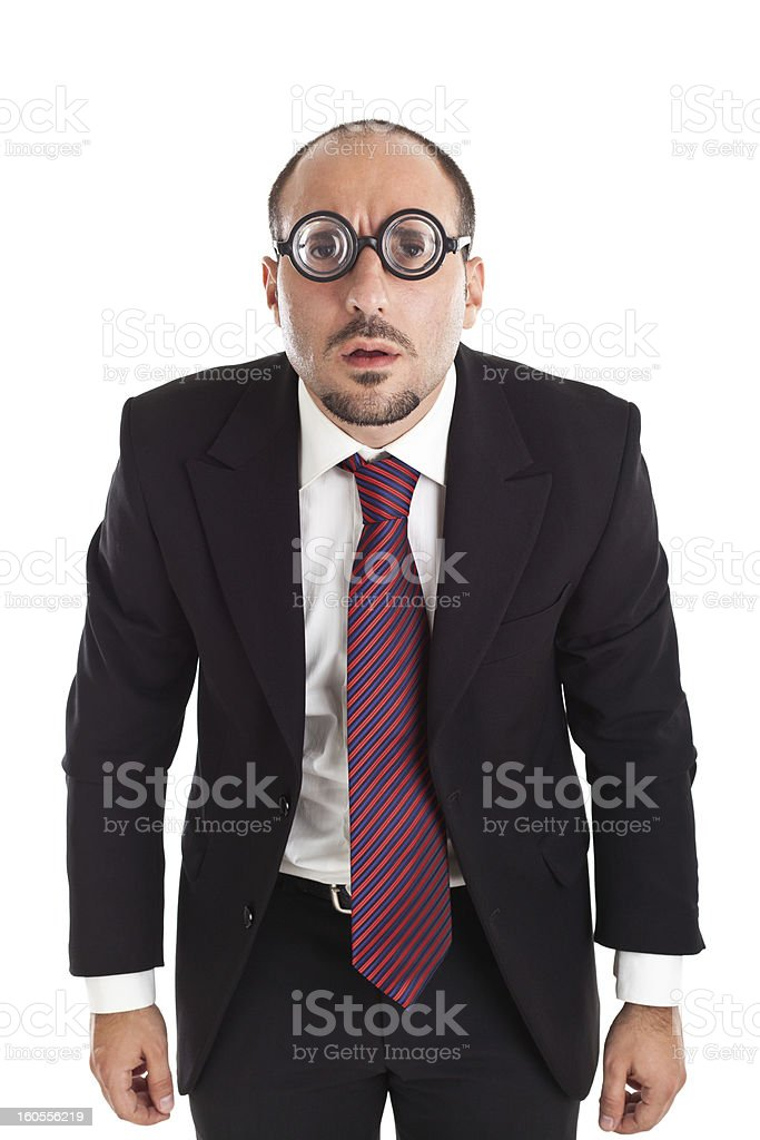 Poor Sight Businessman staring stock photo