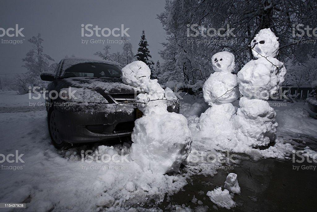 Poor Snowman stock photo
