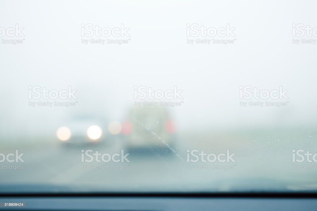 Poor visibility on the road stock photo