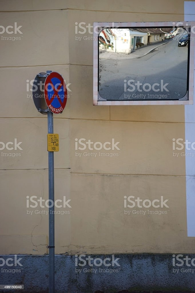 Poor vision junction with traffic mirrors stock photo