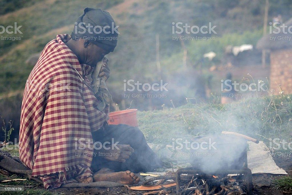 Poor woman in Lesotho stock photo