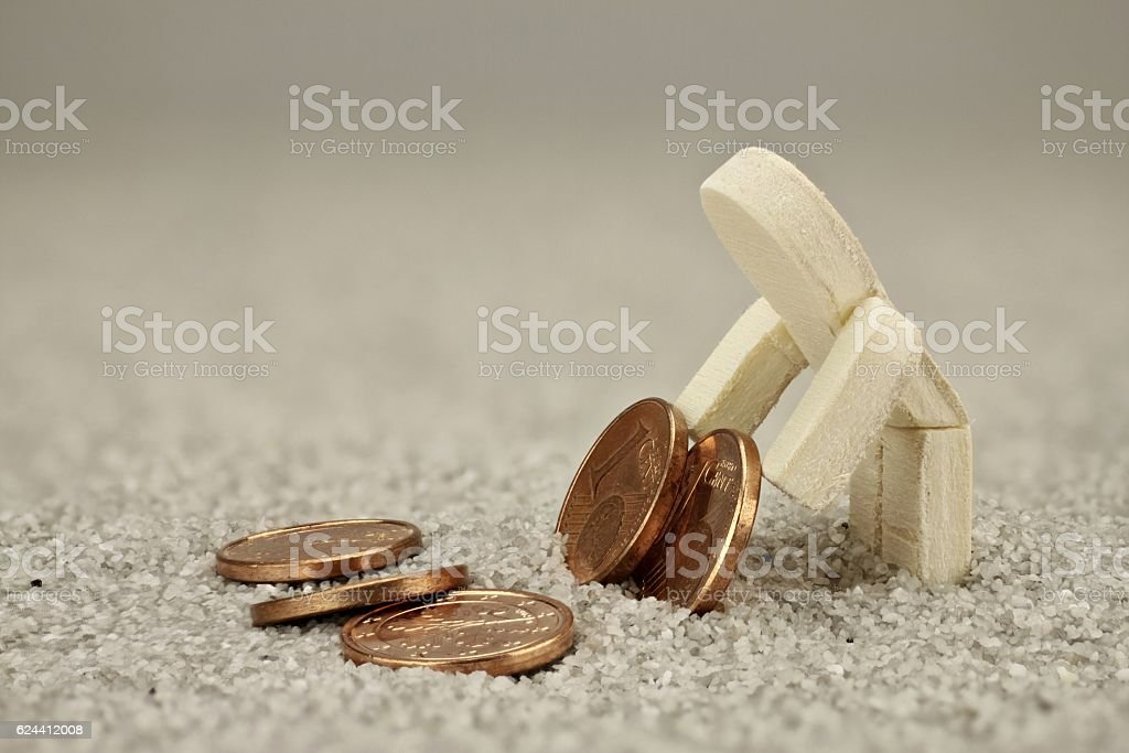 Poor wooden male stock photo