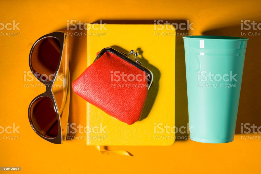 Pop art colorful still life top view stock photo