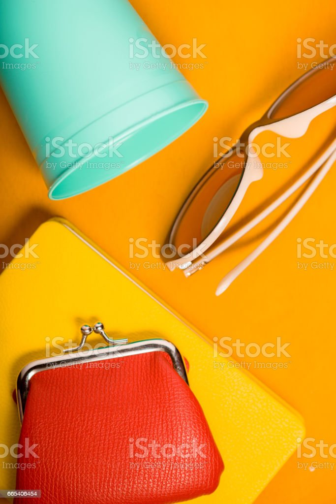 Pop art colorful still life vertical stock photo