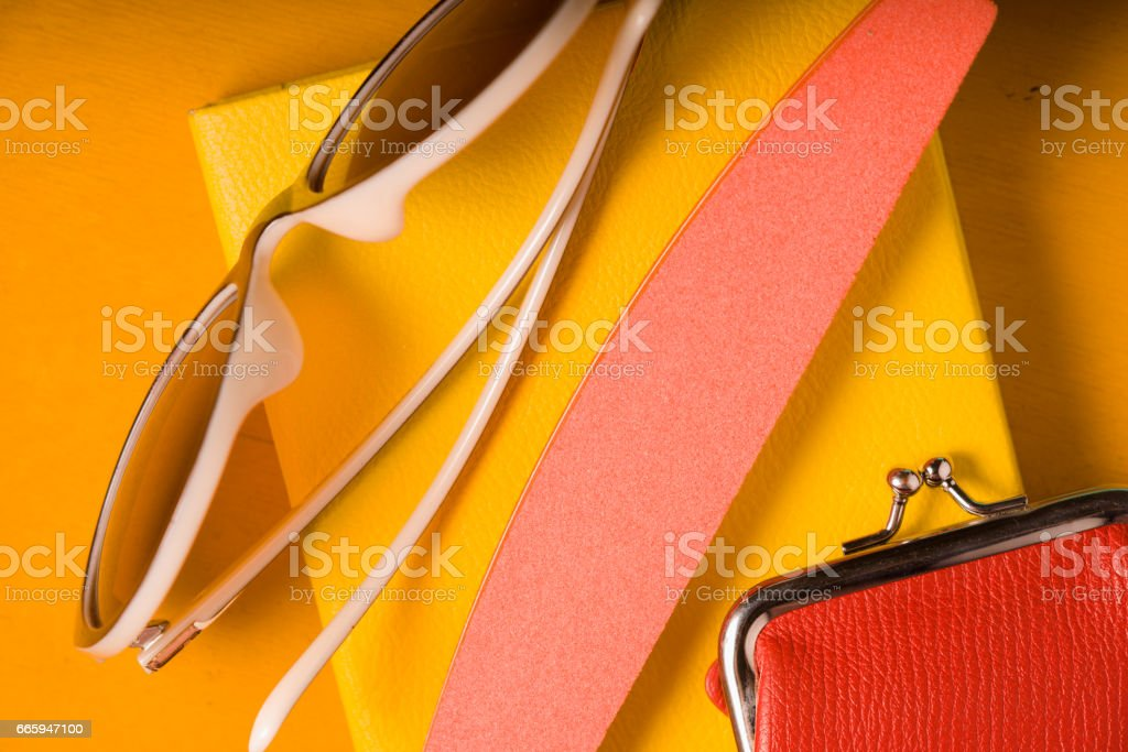 Pop art  still life on the yellow background stock photo