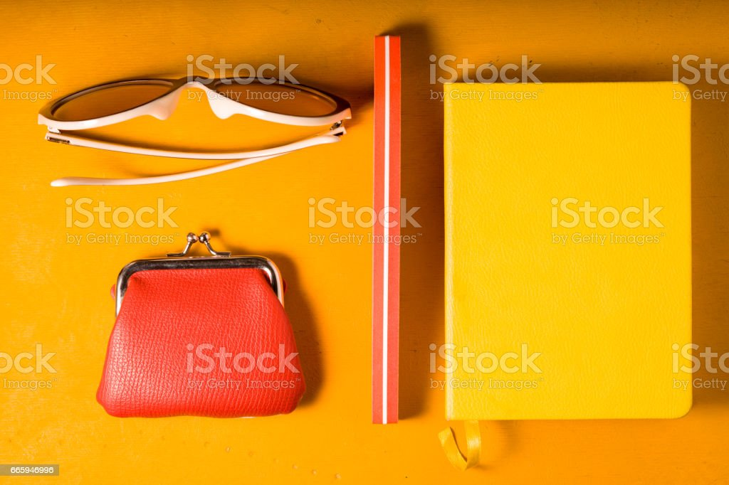 Pop art  still life on the yellow background  top view stock photo