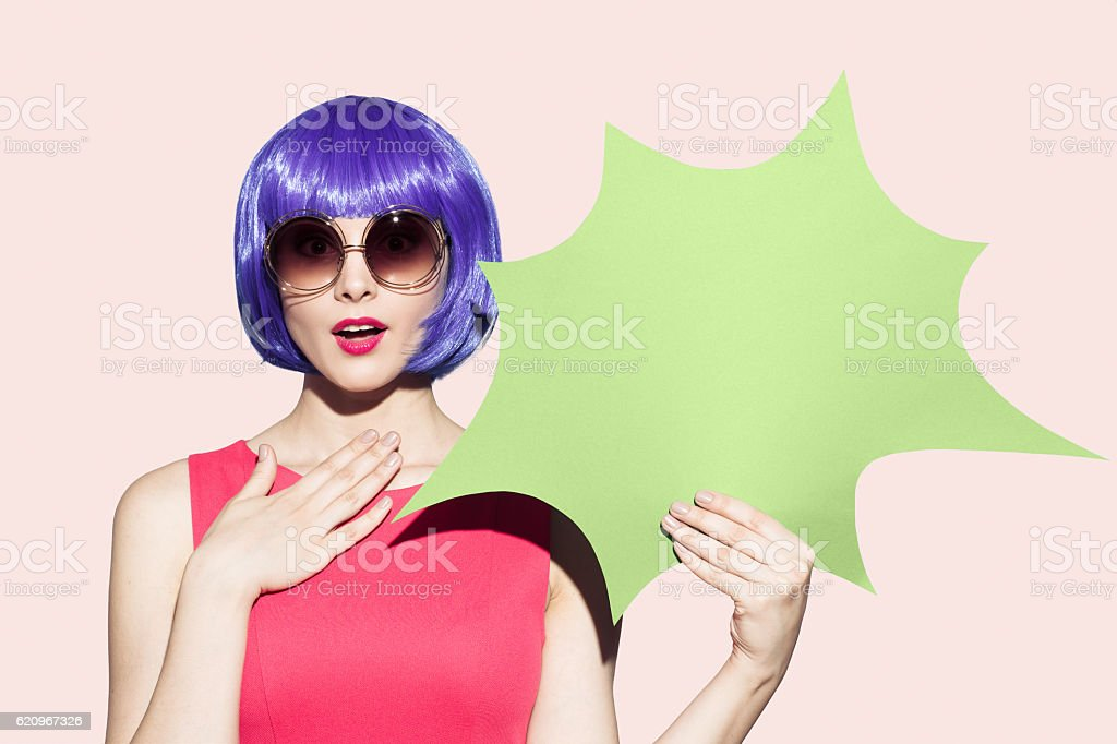 Pop Art Woman Portrait. Hold empty blank. stock photo