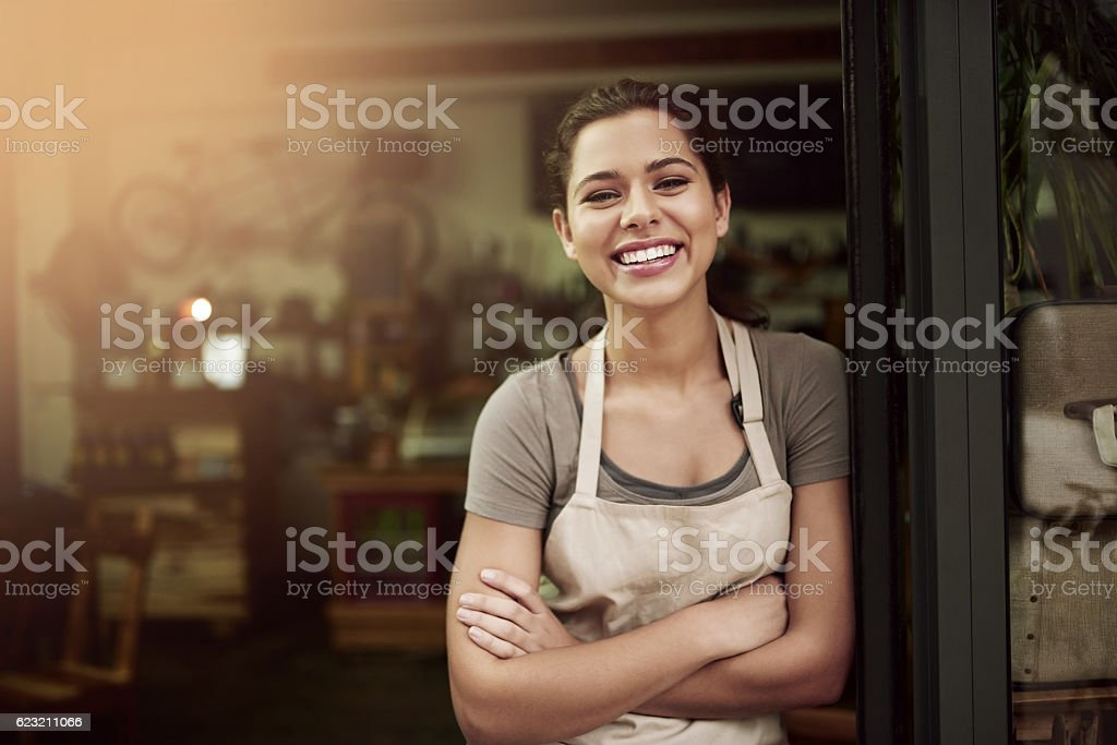 Pop in to your local coffee parlor stock photo