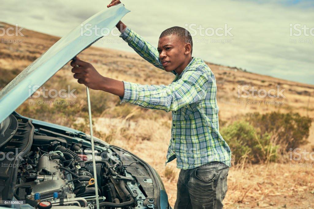 Pop the hood stock photo