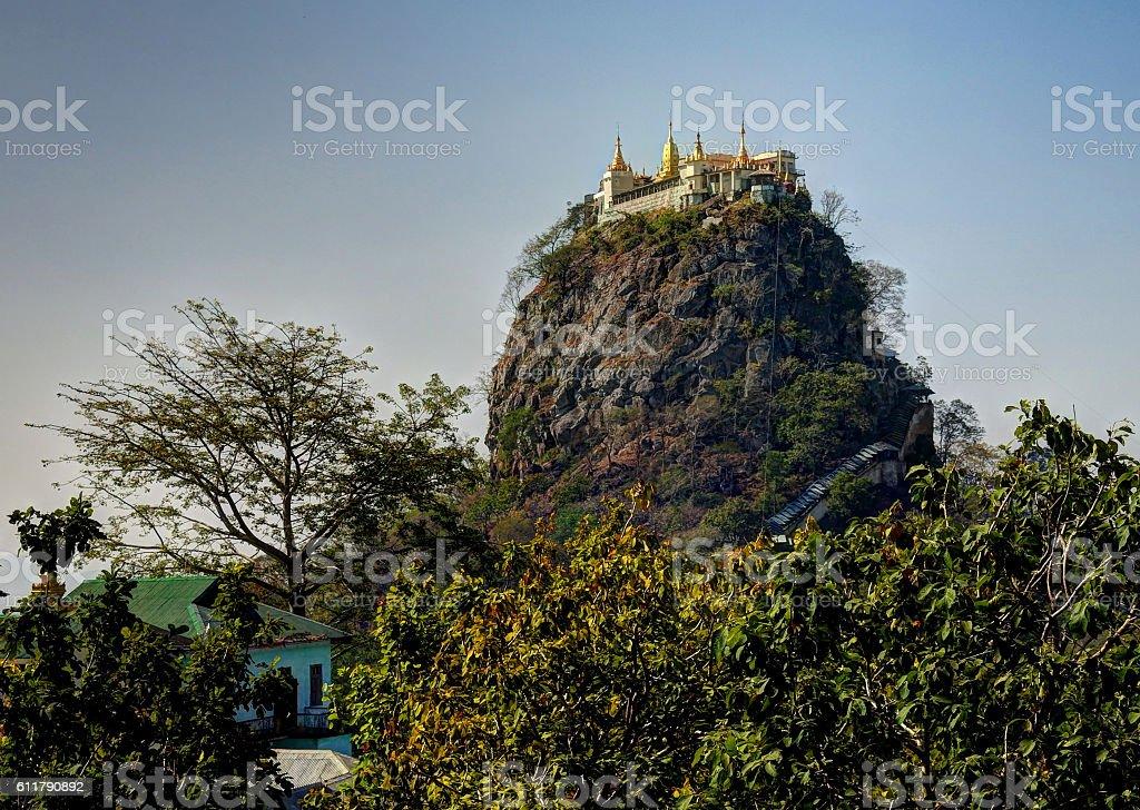 Popa mountain and monastery stock photo