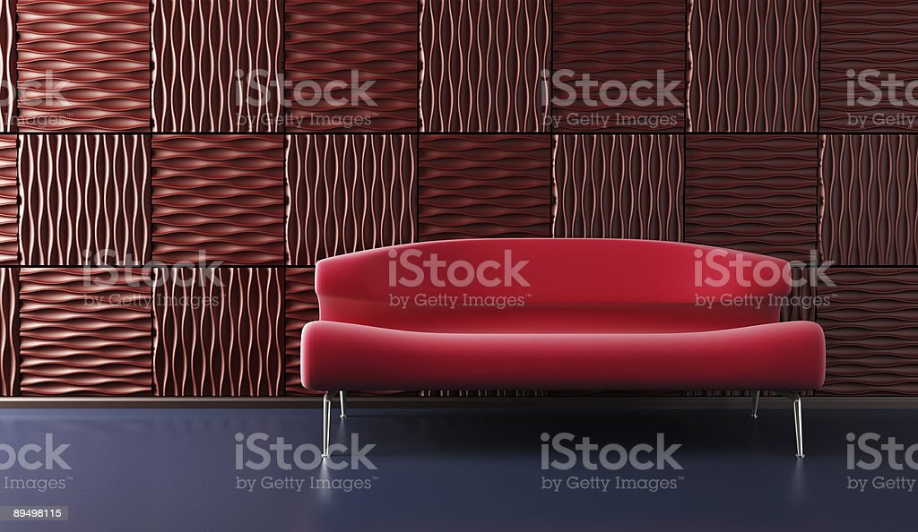 pop-art lounge room with couch royalty-free stock photo