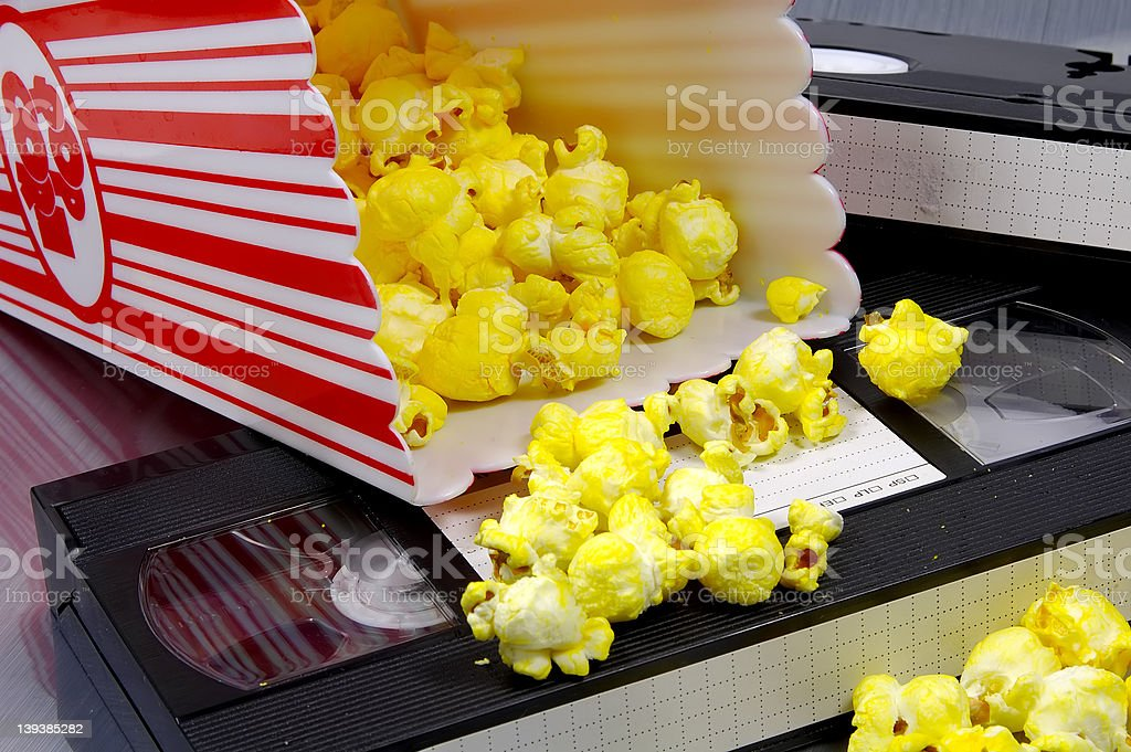 Popcorn and a Video royalty-free stock photo