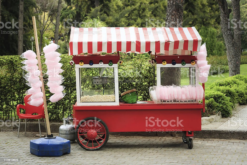 Popcorn and cotton candy vendor's cart stock photo