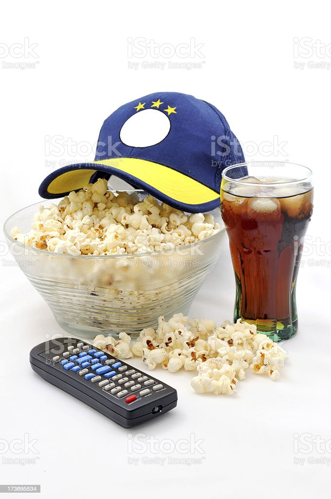 popcorn and football match royalty-free stock photo