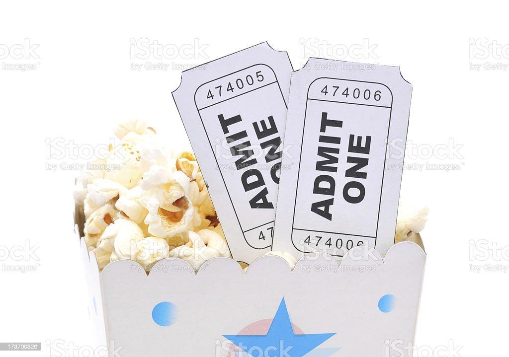 Popcorn and Movie Tickets royalty-free stock photo