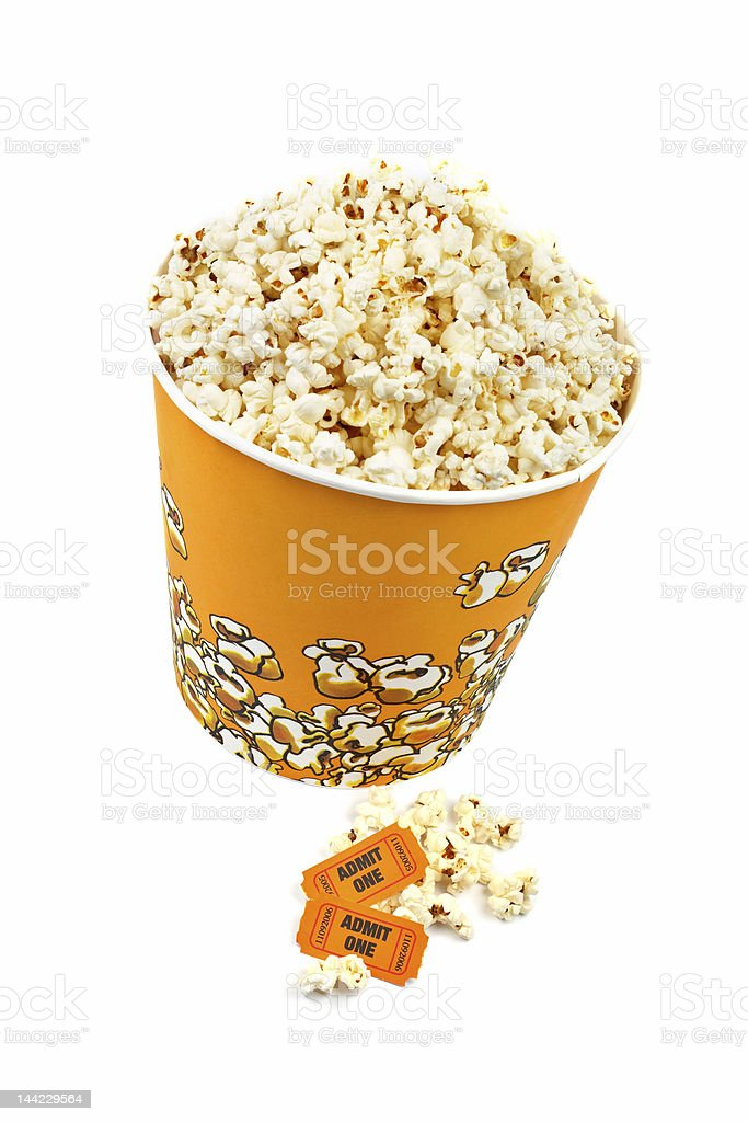 Popcorn bucket and tickets stock photo