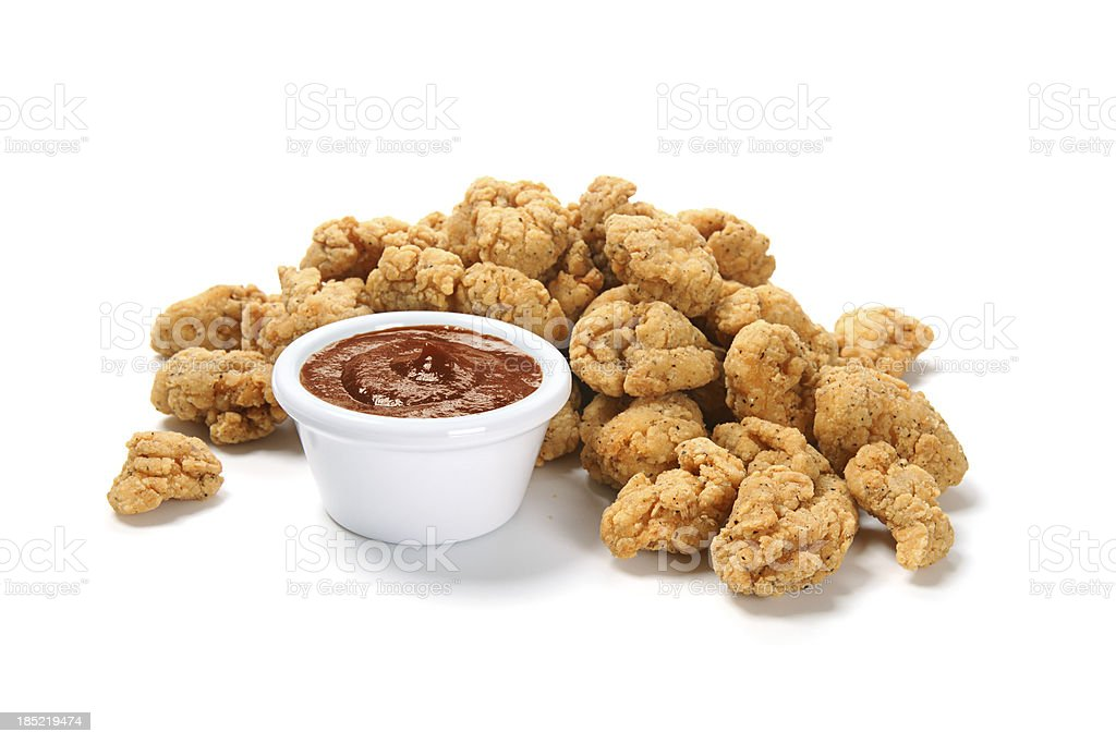 Popcorn Chicken with Barbecue Sauce royalty-free stock photo