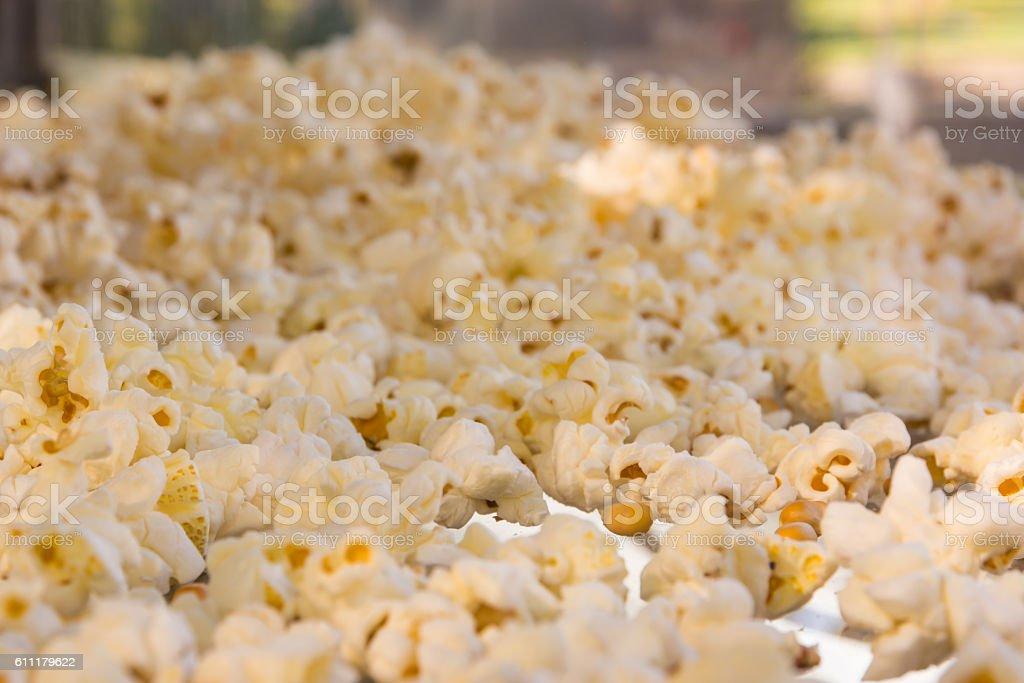Popcorn Closeup Texture Yellow Fresh Ground Food Kernel stock photo