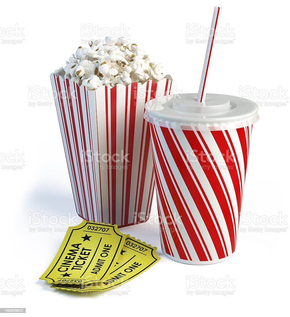 Popcorn, cola and cinema tickets royalty-free stock vector art