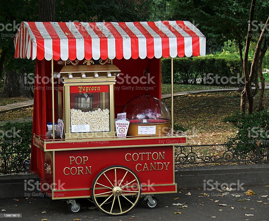 popcorn & cotton candy stock photo