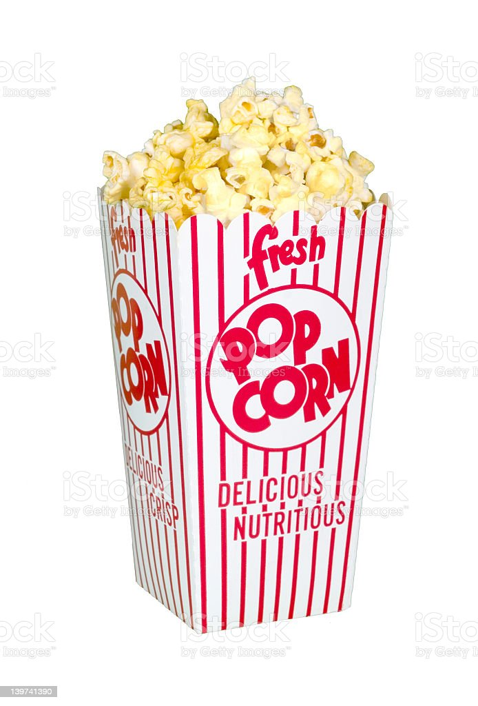 Popcorn in red and white paper box for movie goers stock photo