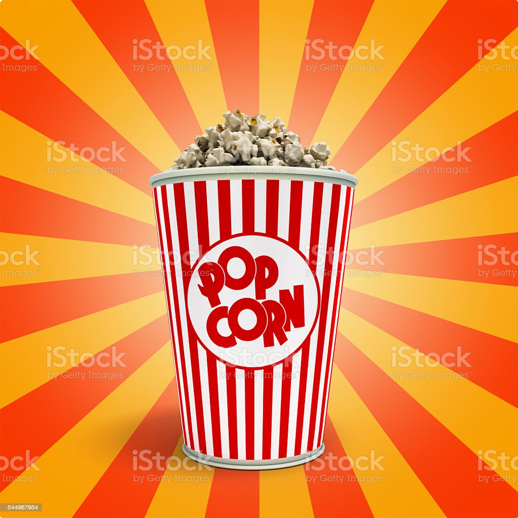 Popcorn in striped bucket 3d render stock photo
