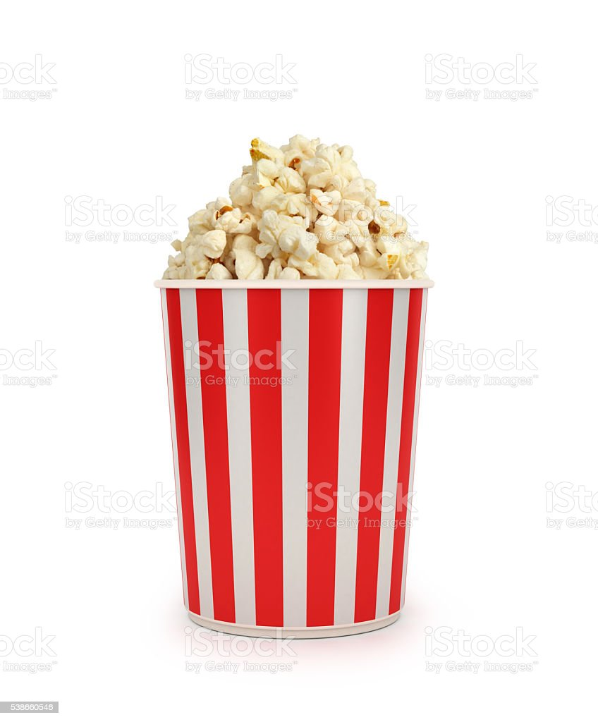 Popcorn in striped bucket stock photo