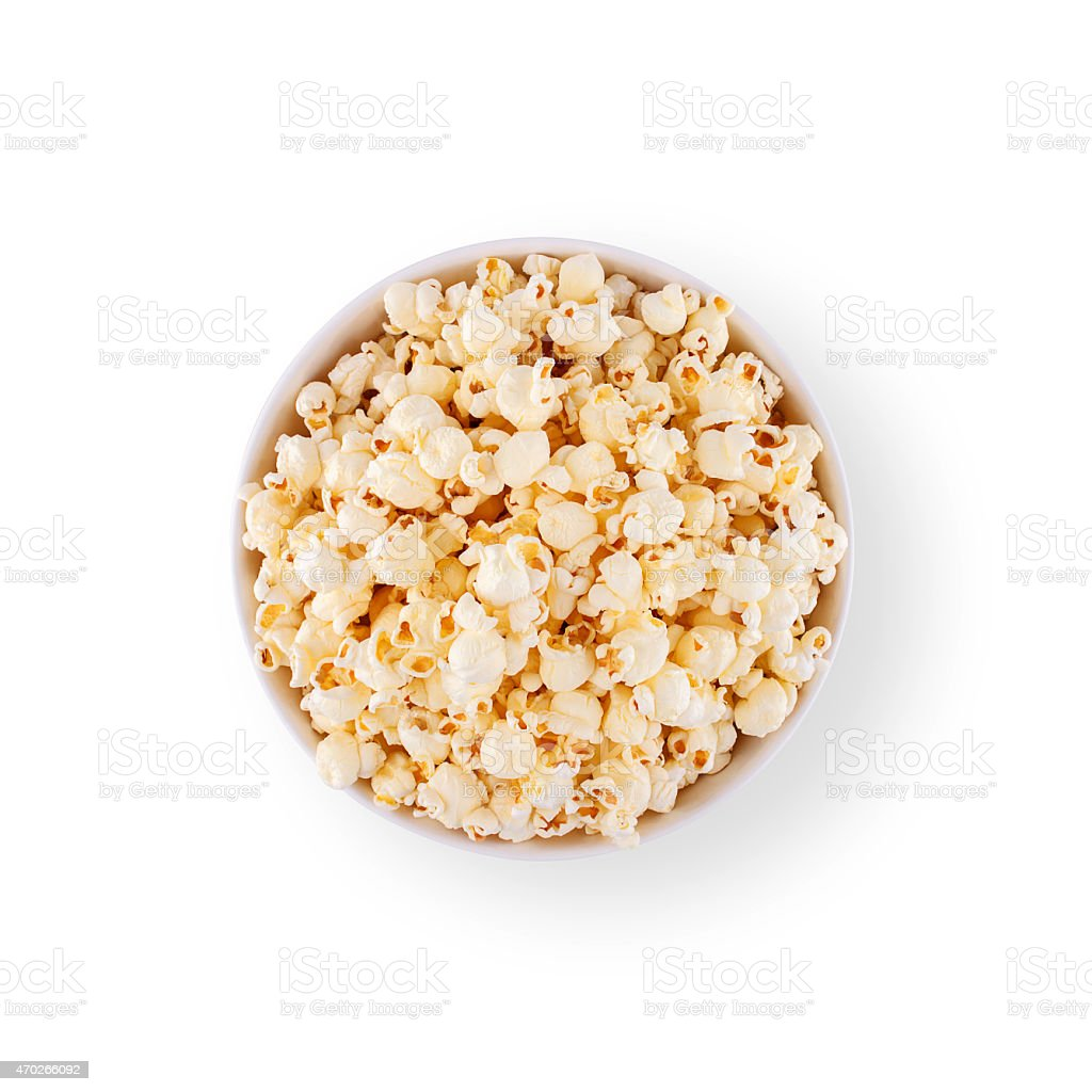 Popcorn in top view isolated stock photo