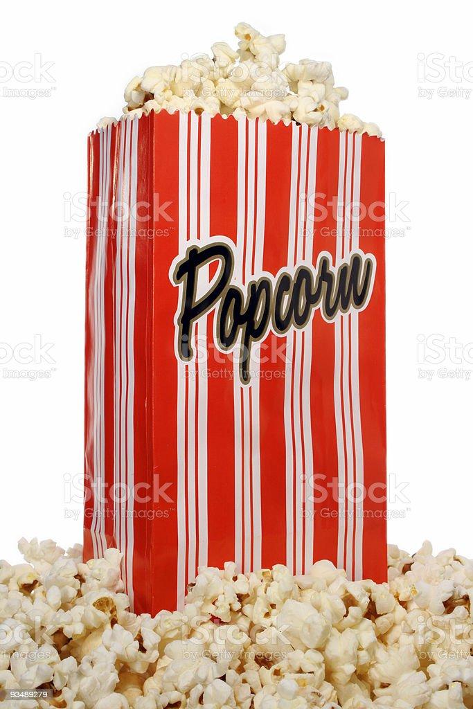 Popcorn in vintage bag royalty-free stock photo