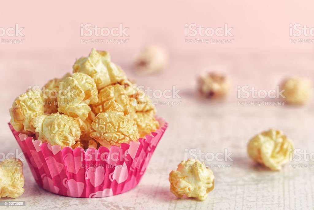 Popcorn on the table. stock photo