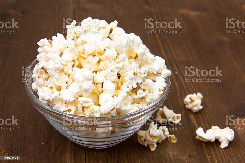 Popcorn on wood stock photo