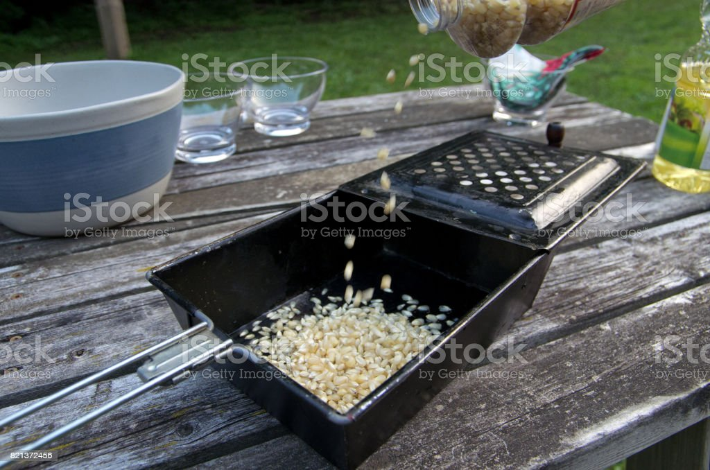 Popcorn Popper Being Filled stock photo
