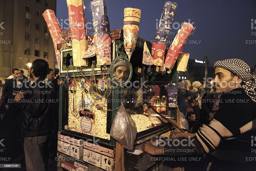 Popcorn Seller at Tahrir stock photo