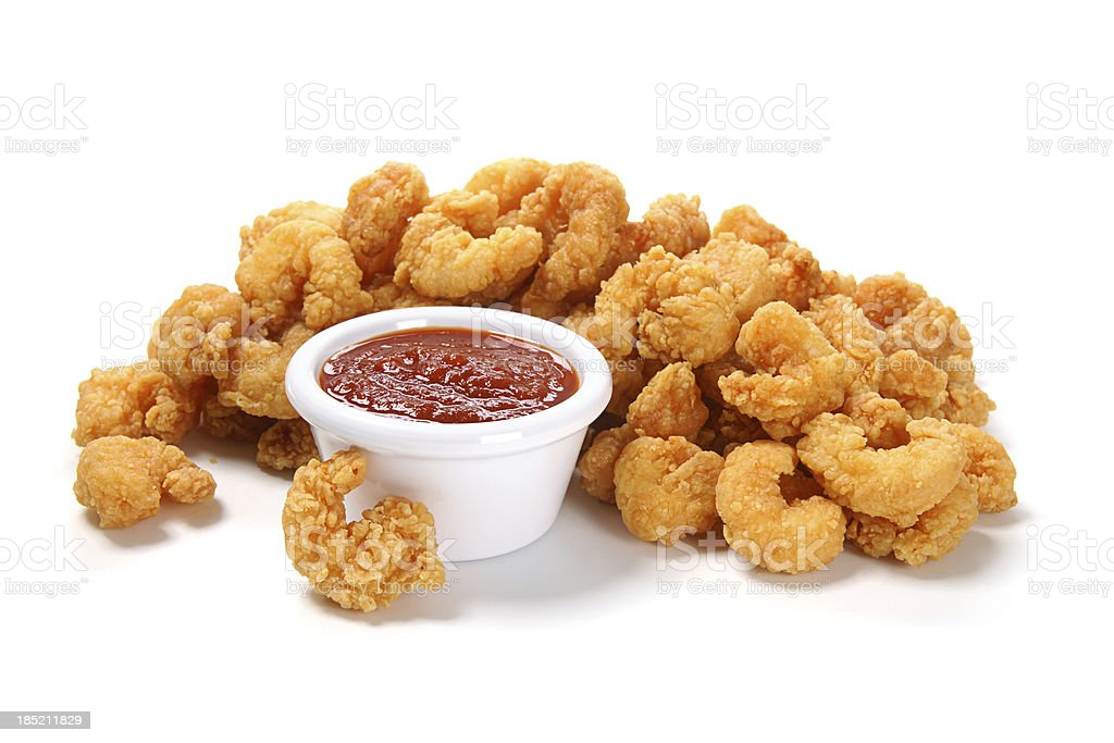 Popcorn Shrimp with Cocktail Sauce stock photo