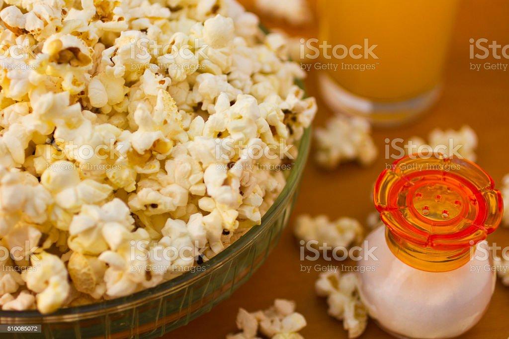 Popcorn with juice stock photo
