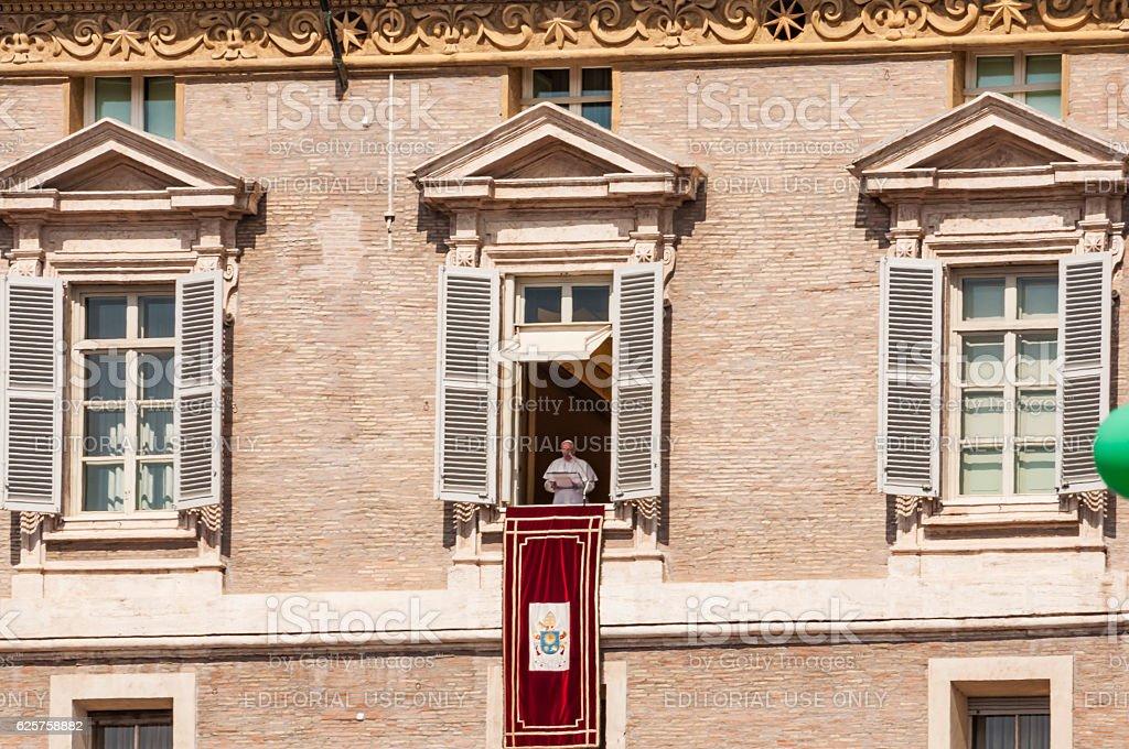 Pope Angelus at Vatican stock photo