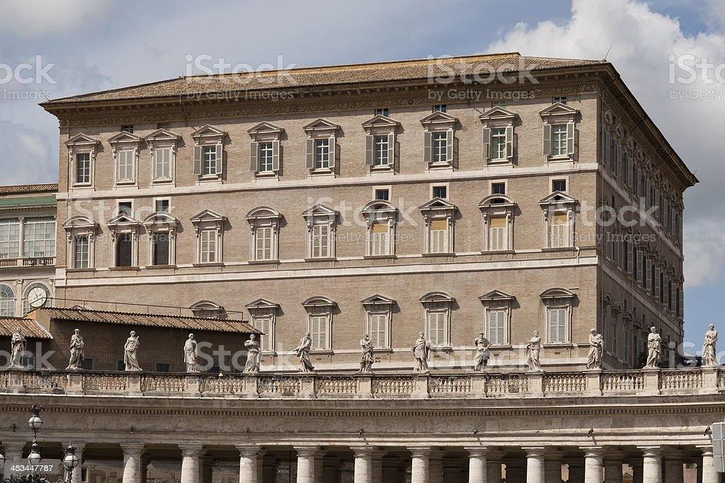 Pope apartments  on Saint Peter Place in Rome royalty-free stock photo