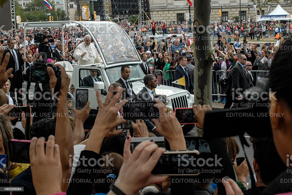 Pope Francis Arriving at Benjamin Franklin Parkway stock photo