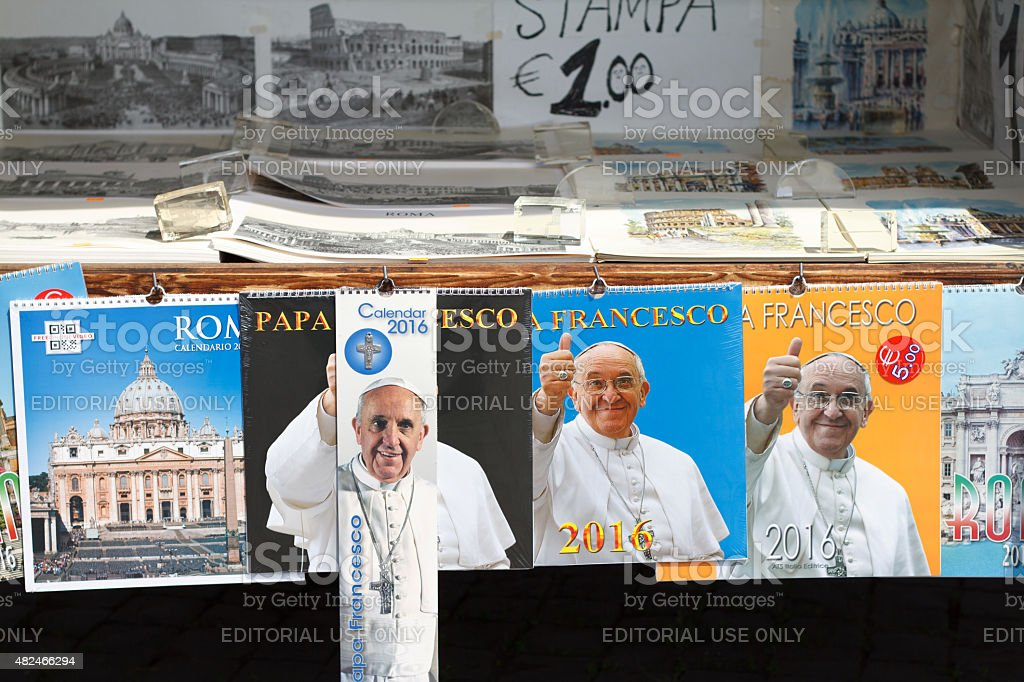 Pope Francis Calendars for Sale, Rome, Italy stock photo