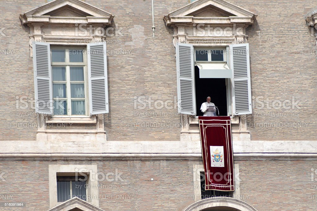 Pope Francis I holding the Angelus prayer in the Vatican stock photo