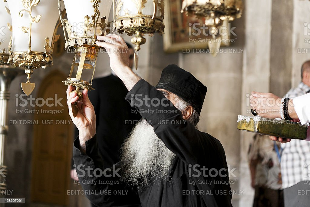 Pope in Church of the Holy stock photo