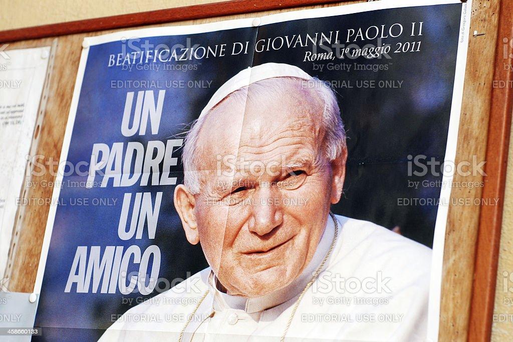 Pope John Paul II on poster royalty-free stock photo