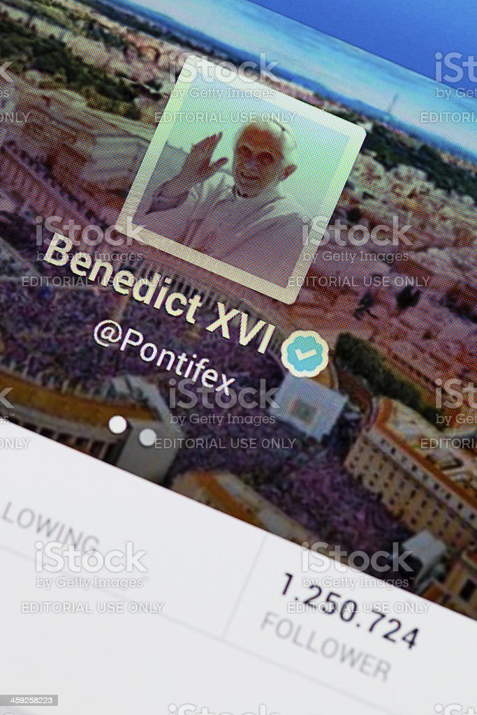 Pope on Twitter stock photo