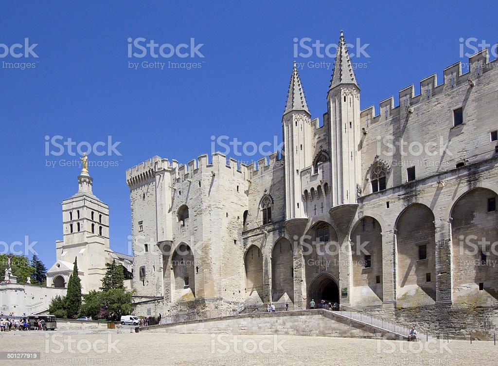 Pope palace in Avignon. Central square, Provence, Cote d'Azur, F stock photo