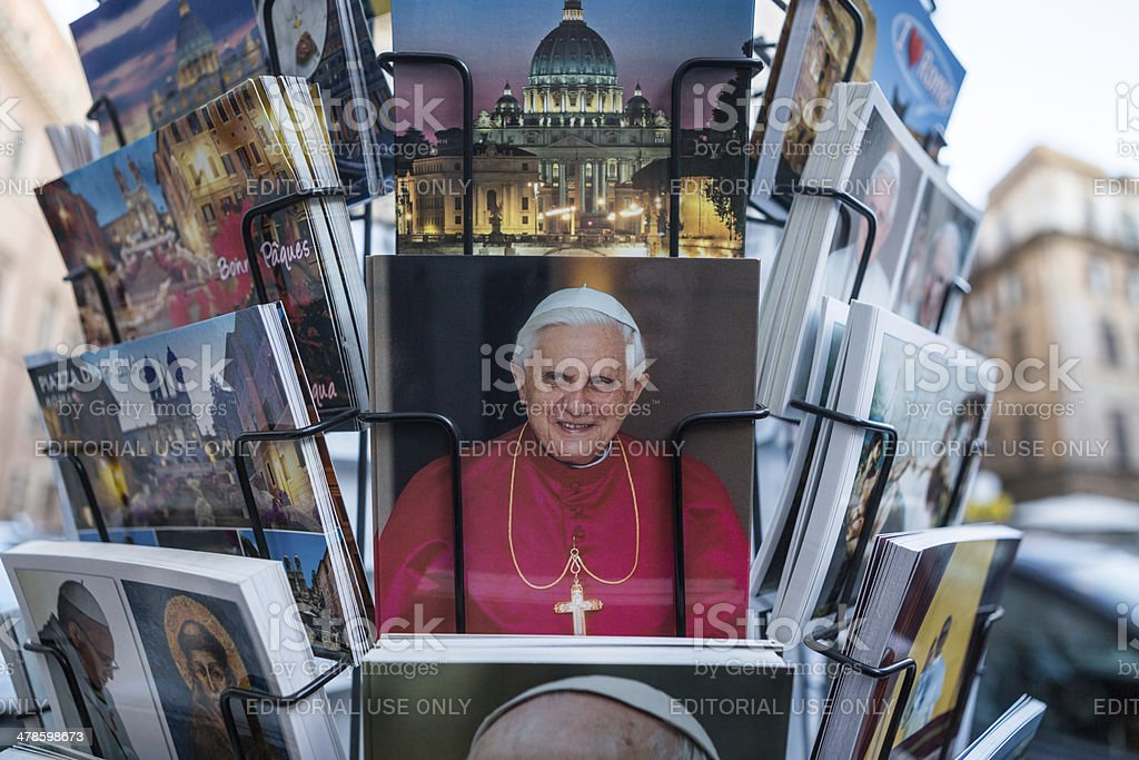 Pope postcards in Rome stock photo