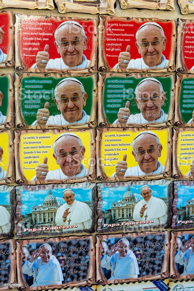 Pope souvenirs in Rome stock photo