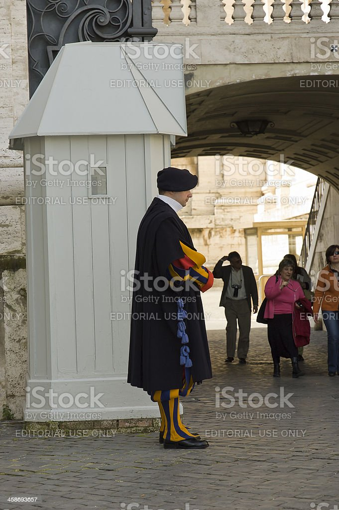 Pope Swiss guard royalty-free stock photo