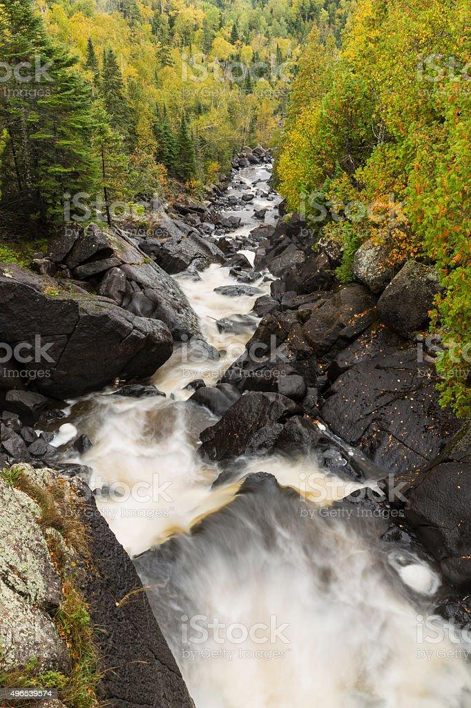 Poplar River Autumn Scenic stock photo